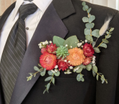Floral Pocket Square Boutonniere