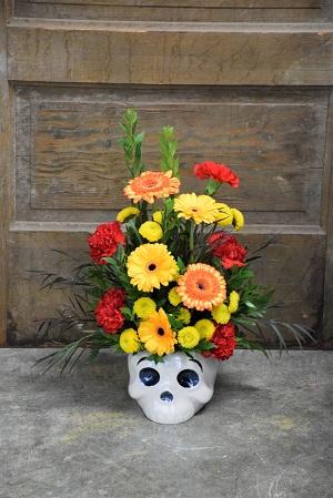 Floral Skull Ceramic Container