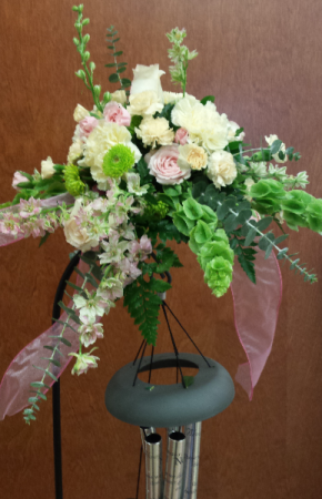 Floral Spray Added To Chime Stand in White Oak, PA | Breitinger's Flowers & Gifts