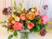 Floral Vintage Basket Garden Arrangement