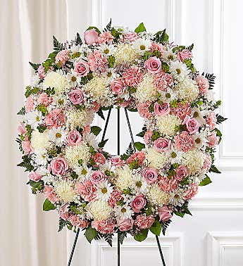 Floral Wreath White with Pink