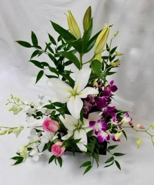 Floral Zen Dish arrangement in Coral Springs, FL | Hearts & Flowers of Coral Springs