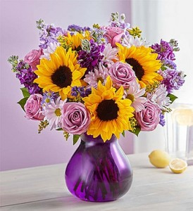 Florally Devoted In Charming Purple Vase