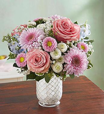 Florals in White Mosaic Vase