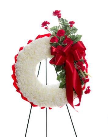 Silk (Artificial) Carnation Melody Wreath Standing Spray
