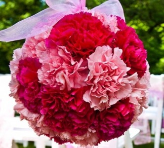 Hanging Carnation Flower Ball Pink, White, Red, Purple, Orange, YellowAvailable