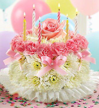 Flower Birthday Cake Fresh flower (various colors available