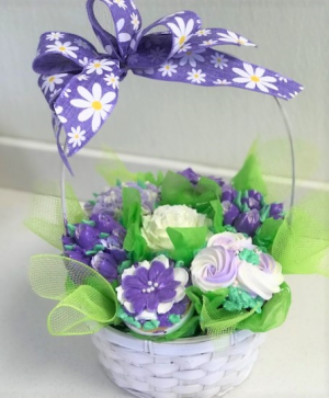 Flower Cupcake Basket Sweet Blossoms  in Jamestown, NC | Blossoms Florist & Bakery