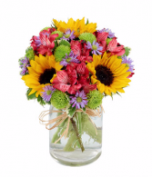 Flower Fields Mason Jar get well
