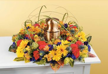 Flower garden Funeral memorial wreath, urn not included