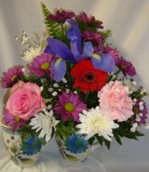Flower mug arrangement with assorted FLOWERS! (nice keepsake mug)