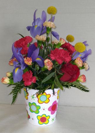 Flowered Ceramic Pot