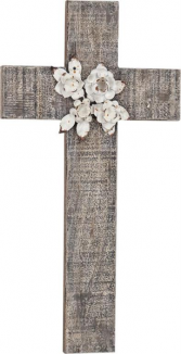FLOWERED WOOD WALL CROSS