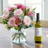 Flowers & a good bottle of wine