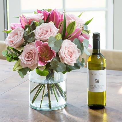 Flowers & a good bottle of wine