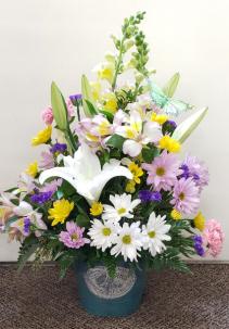 Flowers and Garden Bucket Bouquet Fresh Floral Arrangement
