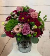 Flowers and Garden Tin short arrangement