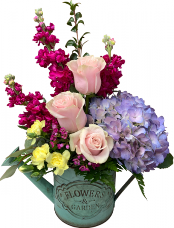 Flowers and Garden Watering Can Mother's Day Arrangement