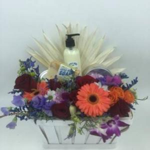 Flowers and Luxury Bath Gift Basket in Abbotsford, BC | BUCKETS FRESH FLOWER MARKET