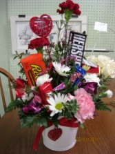 Flowers & Candy Arrangement Fresh Floral with Candy