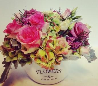 Flowers & Gardens Ceramic Cachepot