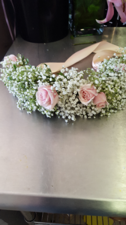 flowers girl head piece head peice with baby  breath and spray rose