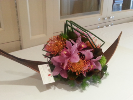 Flowers in a Boat Arrangament