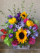 Flowers in a Box A Rustic Seasonal Mix of Your Choice