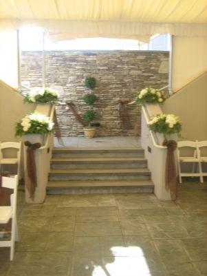 flowers set a wedding arbor 1