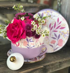 Flowers + Tea For One  Fresh Flowers plus Tea for One Tea Set in Key West, FL | Petals & Vines