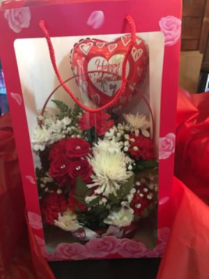 Flowers to go  Basket arrangement with assorted flowers and balloon.  in Ozone Park, NY | Heavenly Florist