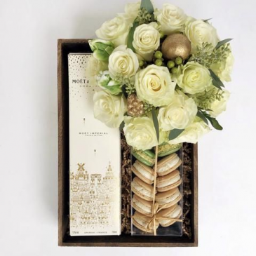 Flowers, Wine &  Macaron Gift Box Next Day Delivery
