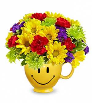 Flowers With A Smile Mug Arrangement in Lebanon, NH | LEBANON GARDEN OF EDEN FLORAL SHOP