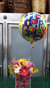 Flowery Birthday Present with Mylar Balloon