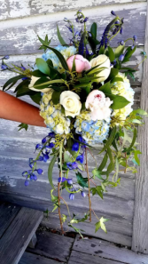 Flowing Wedding Bouquet of Blue and Blush Wedding Bouquet