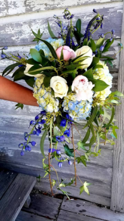 Flowing Wedding Bouquet of Blue and Blush Wedding Bouquet in Key West, FL | Petals & Vines