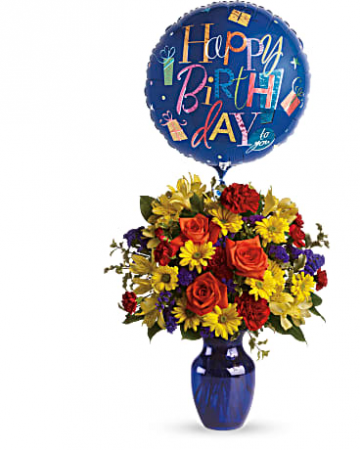 Fly Away Birthday Bouquet T24-1A Vase Arrangement