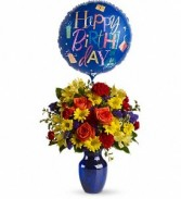 Fly Away Birthday Vase & Balloon (style of balloon/vase may vary)