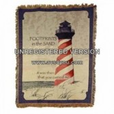 Foot Prints in the sand /Lighthouse Throw blanket/