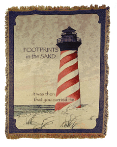 Foot Prints In The Sand With Lighthouse Throw