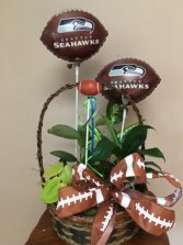 Football basket Planter basket with football mylars and pick