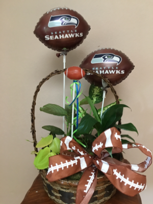 Football basket Planter basket with football mylars and pick in Renton, WA | Alicia's Wonderland II