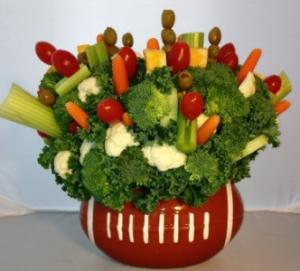 Football Veggie Edible Bouquet - Please give us 24 hr notice in Springfield, IL | FLOWERS BY MARY LOU INC