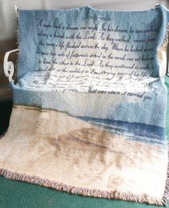 Footprints in the sand throw Sympathy gift item