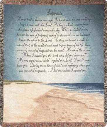 Footprints In The Sand Woven Throw