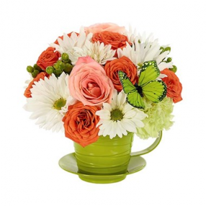 For All You Do Teacup Arrangement in Croton On Hudson, NY | Cooke's Little Shoppe Of Flowers