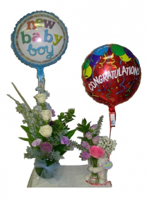 For Baby Boy & Big Sister Balloons & Bear are included