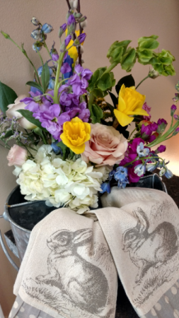 For some bunny special bouquet Galvanized organizer with fresh seasonal floral arrangement and 2 adorable bunny hand towels