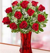 for valentine's DAY 12 red roses with red vase
