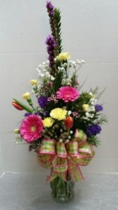 Spring Flower Vase Arrangement Mixed flower vase arrangement